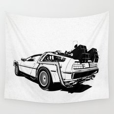 DeLorean / BW Wall Tapestry