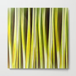 Yellow Ochre and Brown Stripy Lines Pattern Metal Print