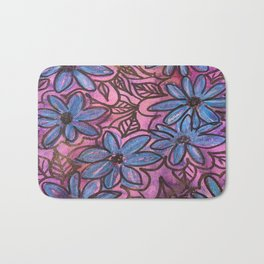 Vibrant Blue Flower Pops Bath Mat