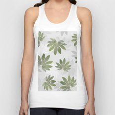 Tropical green leaves Unisex Tank Top