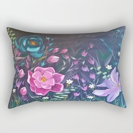 Moonlight Sonata, Bright flowers on Black, Night flowers, Bright floral on dark background Rectangular Pillow