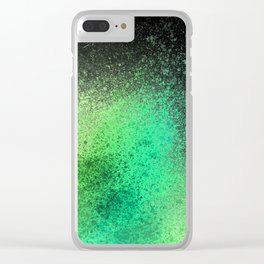 Neon Lime Green and Black Spray Paint Art Clear iPhone Case