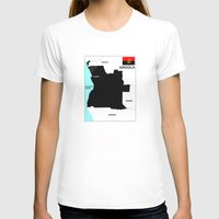 political T-shirts featuring political map of Angola country with flag by tony tudor