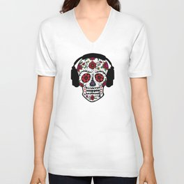 Sugar Skull with headphones Unisex V-Neck