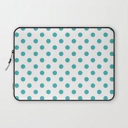 Small Polka Dots - Verdigris on White Laptop Sleeve