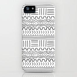 Mud Cloth on White iPhone Case