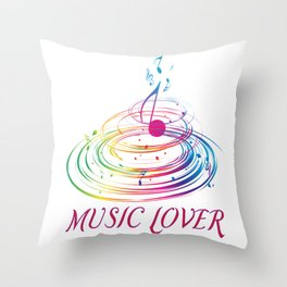 Music Themed T Shirts Colorful Graphic Throw Pillow