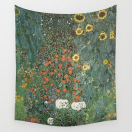 Gustav Klimt - Farm Garden with Sunflowers Wall Tapestry