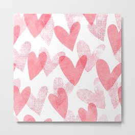 Romantic print. Cute halftone hearts. Metal Print