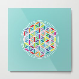 Flower of Life – Multicoloured on Blue Metal Print