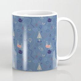 Tiny Tribes, ethnical doodles on blueberry background Coffee Mug