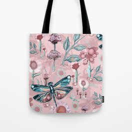 Rose Gold Dragonfly Garden | Pastel Tote Bag