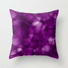 Dark intersecting purple translucent circles in bright colors with a blueberry glow. Throw Pillow