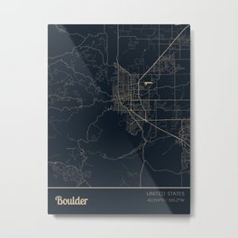 Boulder, Colorado, United States City Map Metal Print
