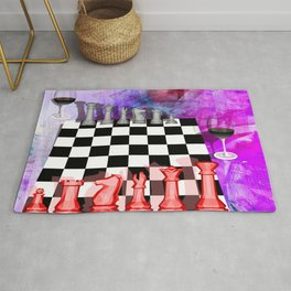 Another night of Chess abstract art Rug