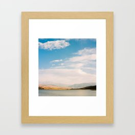 Mountain and lake view Framed Art Print