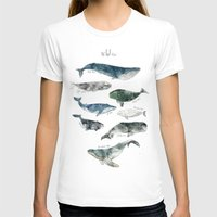 animal crew T-shirts featuring Whales by Amy Hamilton