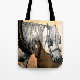 Plow Horse and Foal Tote Bag