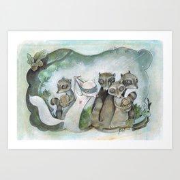 Christmas Raccoons Art Print