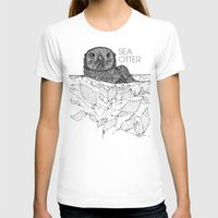 otters T-shirts featuring Sea Otter Sketch by Hinterlund