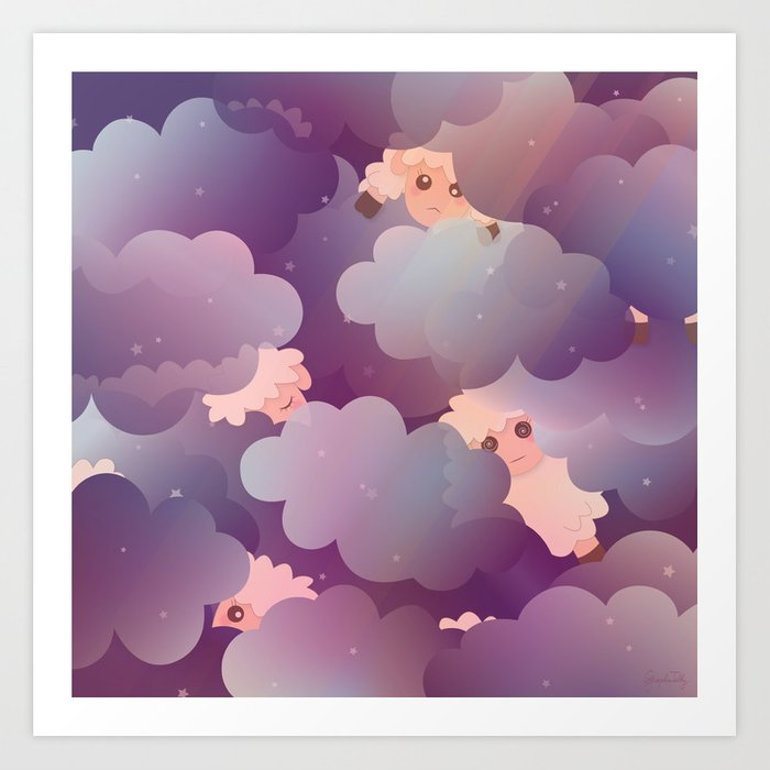 Heavenly Baby Sheep Ii Wine Purple Plum Color Star Night Sky Background Art