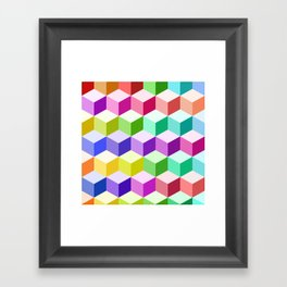 Cube Pattern Multicolored Framed Art Print
