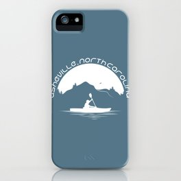 Asheville - Kayaking - AVL 9 White on Greyblue iPhone Case