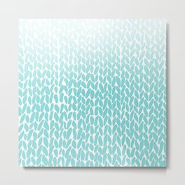 Hand Knitted Ombre Teal Metal Print