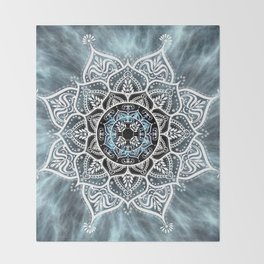 Heart Of The Moon Mandala Throw Blanket