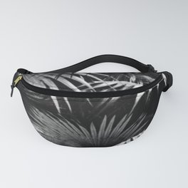 Tropical Botanic Jungle Garden Palm Leaf Black White Fanny Pack