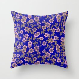 Abstract blush pink brown sky blue flowers Throw Pillow
