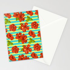 Summer Red Hibiscus Seamless Pattern Stationery Cards