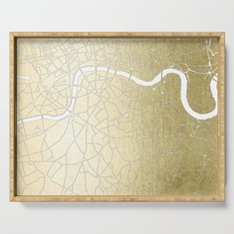 Gold on White London Street Map II Serving Tray