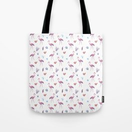 Aquatic & Flamingo Watercolour Pattern Tote Bag
