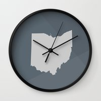 ohio state Wall Clocks featuring Ohio State by Eric Heikkinen