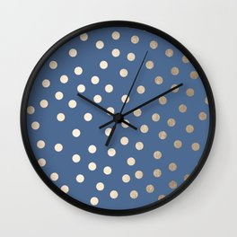 Simply Dots White Gold Sands on Aegean Blue Wall Clock