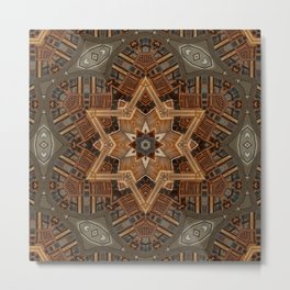 geometric wood hexagram Metal Print