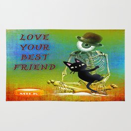 """Love your best friend"" ( Whim and Monsieur Bone) By Batkei and Joe Ganech Rug"