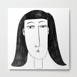 Stylised Charcoal Painting of a Woman Metal Print