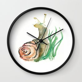 Searching - Watercolor and Gold Leaf Snail Wall Clock