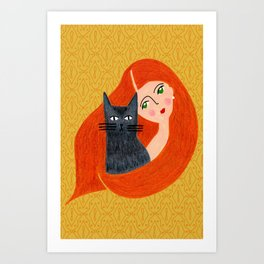 Besties. Crazy cat lady with golden geometric pattern Art Print