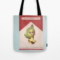 cigarette Tote Bags featuring Cigarette Barbie by Hayleydonovan