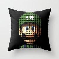 luigi Throw Pillows featuring Pictodotz - Luigi by dudsbessa