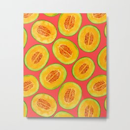 Melon slices watercolor pattern Metal Print
