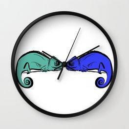 Chameleon Couple Wall Clock