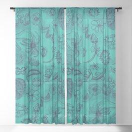 Botanicals in Teal Sheer Curtain