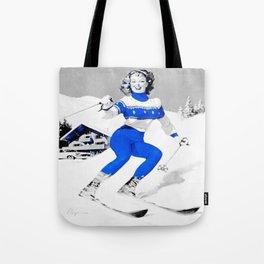 Snow Bunny Pin Up Girl Blue Tote Bag