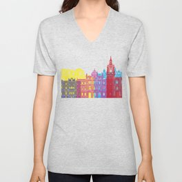 Bilbao skyline pop Unisex V-Neck