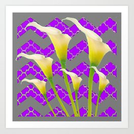 Grey & Purple Calla Lilies Art Art Print