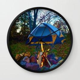 Camping & a Campfire in the Kawartha Lakes, Ontario, Canada Wall Clock